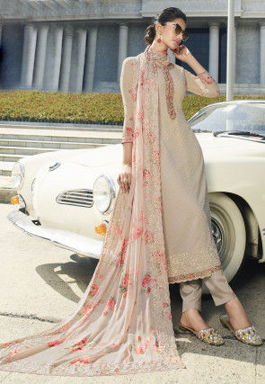 Embroidered Georgette Pakistani Suit in Beige