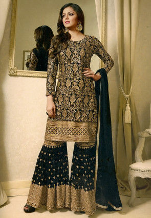 Embroidered Georgette Pakistani Suit in Black