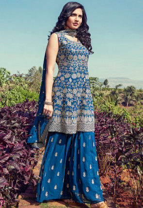 Embroidered Georgette Pakistani Suit in Blue