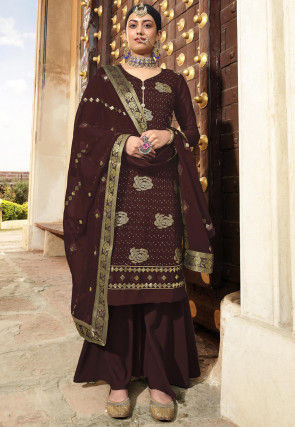 Embroidered Georgette Pakistani Suit in Brown