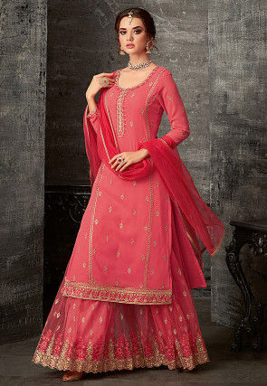 Embroidered Georgette Pakistani Suit in Coral Pink