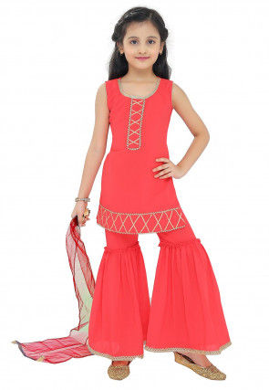 Embroidered Georgette Pakistani Suit in Coral Red