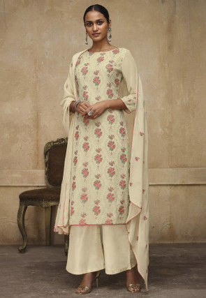 Embroidered Georgette Pakistani Suit in Cream