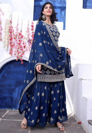 Embroidered Georgette Pakistani Suit in Dark Blue