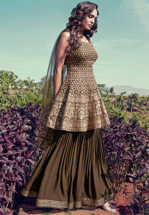 Embroidered Georgette Pakistani Suit in Dark Olive Green