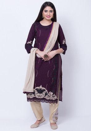 Embroidered Georgette Pakistani Suit in Dark Purple
