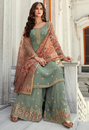Embroidered Georgette Pakistani Suit in Dusty Blue