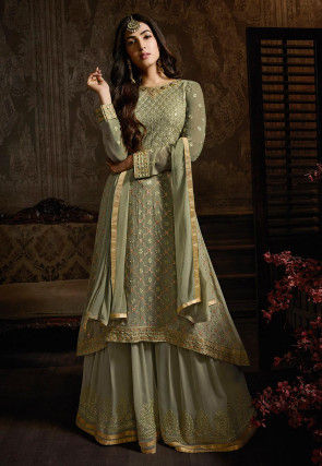 Embroidered Georgette Pakistani Suit in Dusty Green