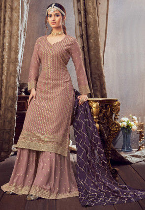 Embroidered Georgette Pakistani Suit in Dusty Old Rose