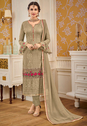 Embroidered Georgette Pakistani Suit in Dusty Olive Green