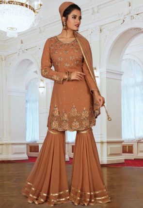 Embroidered Georgette Pakistani Suit in Dusty Peach
