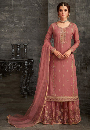 Embroidered Georgette Pakistani Suit in Dusty Pink