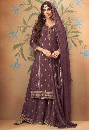 Embroidered Georgette Pakistani Suit in Dusty Purple