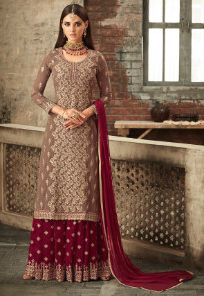 Embroidered Georgette Pakistani Suit in Fawn