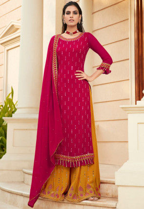 Embroidered Georgette Pakistani Suit in Fuchsia