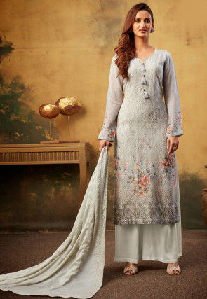 Embroidered Georgette Pakistani Suit in Grey