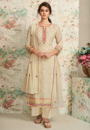 Embroidered Georgette Pakistani Suit in Light Beige
