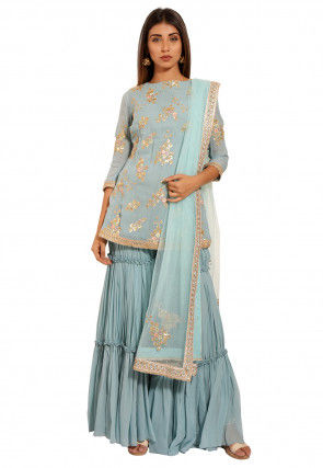 Embroidered Georgette Pakistani Suit in Light Dusty Blue