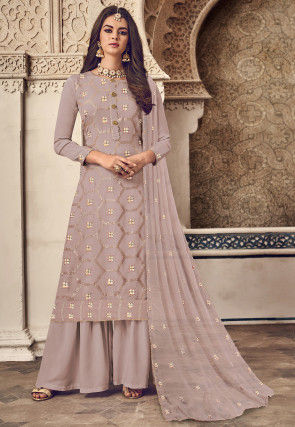 Embroidered Georgette Pakistani Suit in Light Fawn