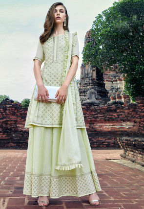 Embroidered Georgette Pakistani Suit in Light Green