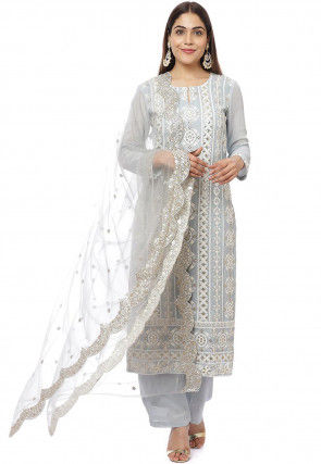 Embroidered Georgette Pakistani Suit in Light Grey