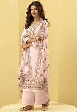 Embroidered Georgette Pakistani Suit in Light Pink