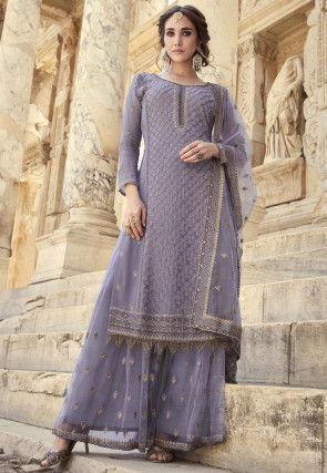 Embroidered Georgette Pakistani Suit in Light Purple