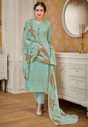 Embroidered Georgette Pakistani Suit in Light Teal Green