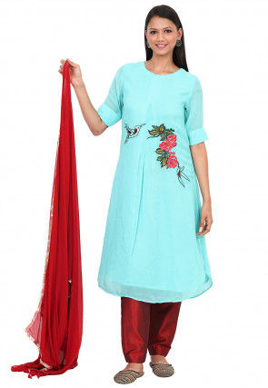 Embroidered Georgette Pakistani Suit in Light Turquoise