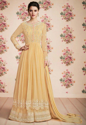Embroidered Georgette Pakistani Suit in Light Yellow