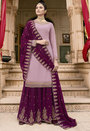 Embroidered Georgette Pakistani Suit in Lilac