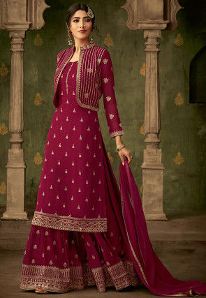 Embroidered Georgette Pakistani Suit in Magenta