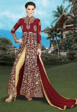 Embroidered Georgette Pakistani Suit in Maroon