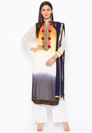 Embroidered Georgette Pakistani Suit in Multicolor