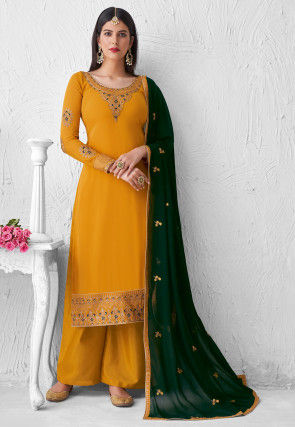 Embroidered Georgette Pakistani Suit in Mustard