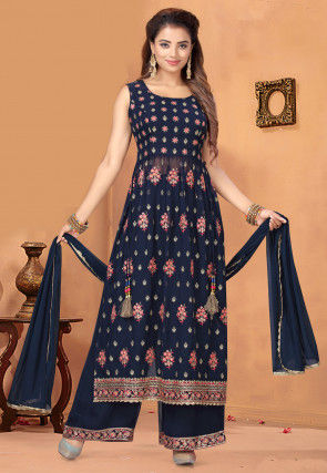 Embroidered Georgette Pakistani Suit in Navy Blue