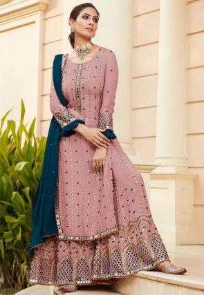 Embroidered Georgette Pakistani Suit in Old Rose