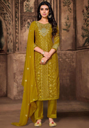 Embroidered Georgette Pakistani Suit in Olive Green
