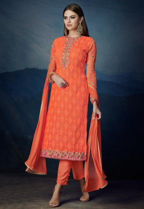 Embroidered Georgette Pakistani Suit in Orange