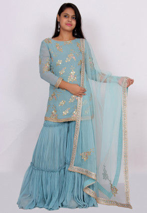Embroidered Georgette Pakistani Suit in Pastel Blue