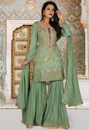 Embroidered Georgette Pakistani Suit in Pastel Green