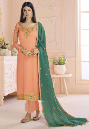 Embroidered Georgette Pakistani Suit in Pastel Orange