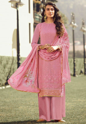 Embroidered Georgette Pakistani Suit in Pink