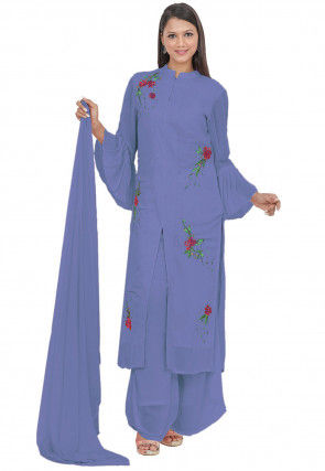 Embroidered Georgette Pakistani Suit in Purple