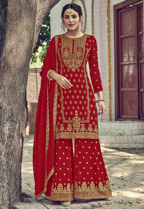 Embroidered Georgette Pakistani Suit in Red