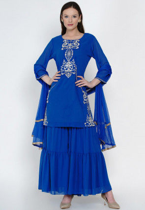 Embroidered Georgette Pakistani Suit in Royal Blue