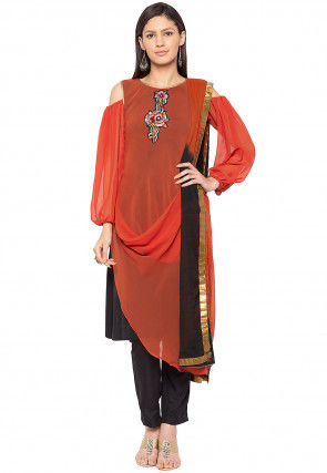 Embroidered Georgette Pakistani Suit in Rust