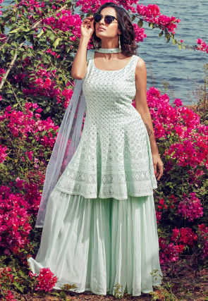 Embroidered Georgette Pakistani Suit in Sea Green