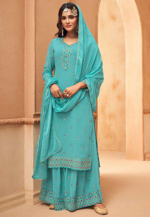 Embroidered Georgette Pakistani Suit in Sky Blue