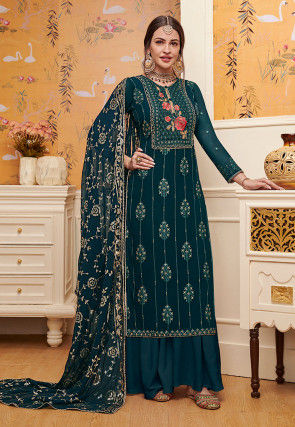 Embroidered Georgette Pakistani Suit in Teal Blue
